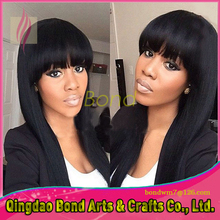 Long Silky Straight Full Lace Human Hair Wig With Bangs Brazilian Virgin Human Hair Lace Front Wig For Black Women Full Lace Wig