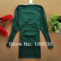 новинка женщин молнии режиме off-плечи топы рубашка с zip корея летучая мышь пр сексуальное длинное платье с рукавами 5 цветов бесплатная доставка