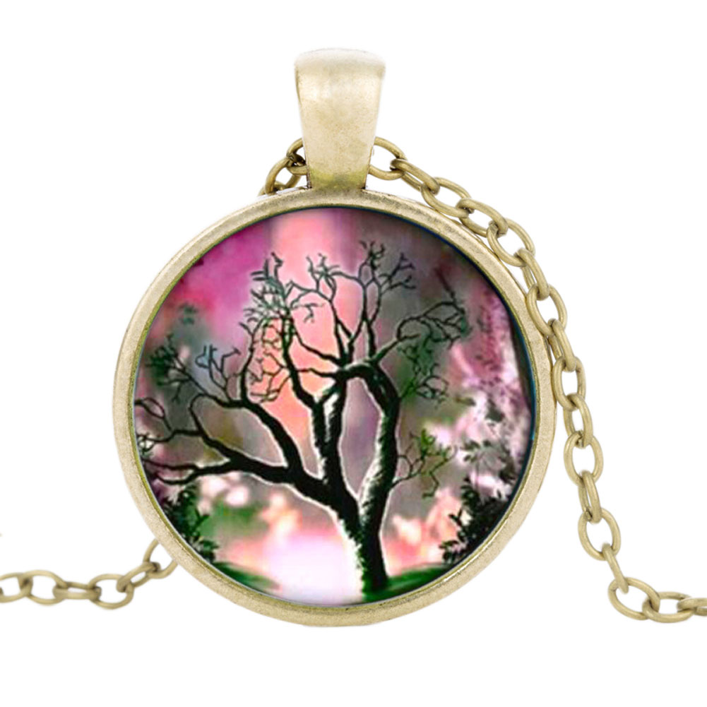 New Simple Style Colorful Dreamlike Tree of Life Time Gem Chain Pendant 3 Colors Necklace for Women Fashion Jewelry