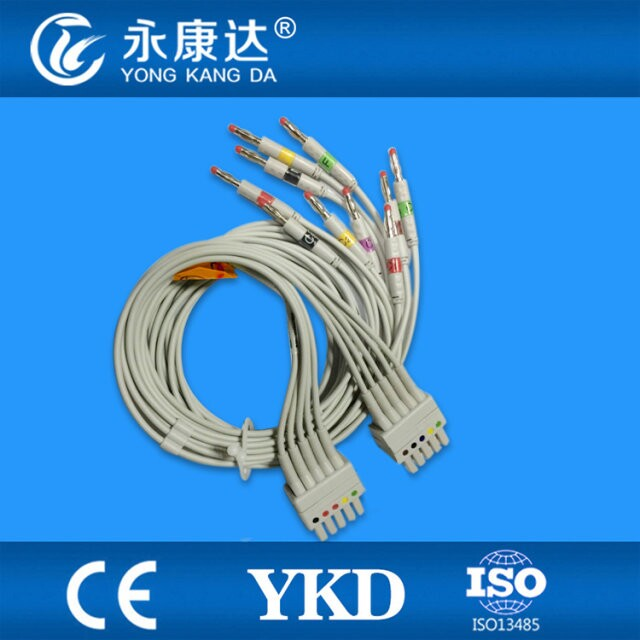 лучшая цена Compatible Mortara 250C Holter ECG Adapter Cable 10Leads IEC Banana 4.0