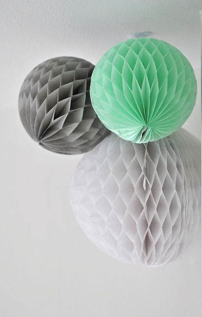 3 unids 15 cm, 25 cm (blanco, gris, menta) de tejido de papel honeycomb balls co