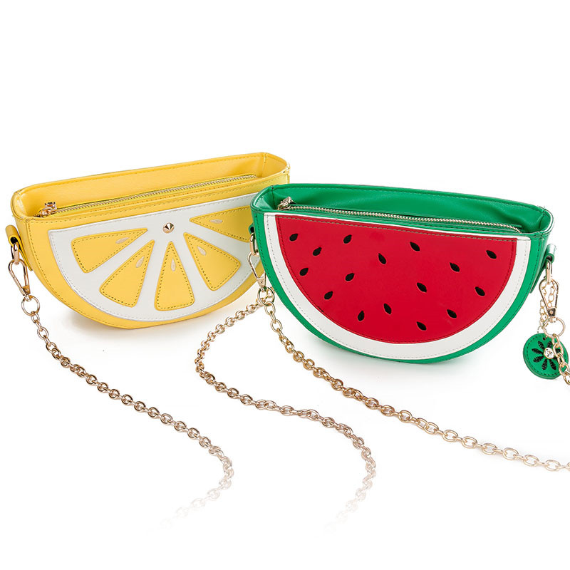 Sweet girl summer bag new female quality pu leather handbag cute fruit packet chain shoulder messenger orange watermelon