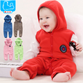 Roupas de bebê sem mangas romper com capuz primavera outono velo newborn roupas das meninas do menino roupas infantis recém-nascidos sleepwear