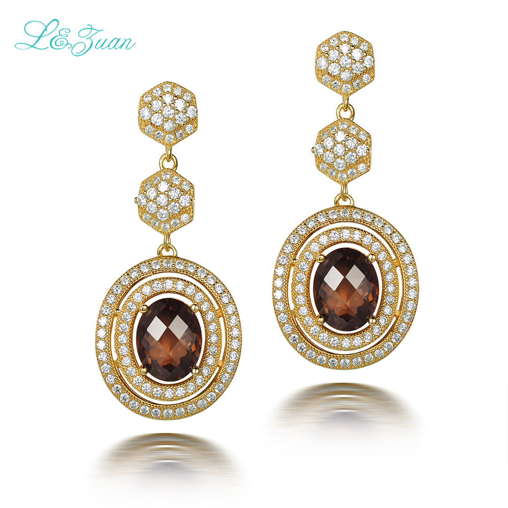 Fashion Clic 925 Sterling Silver Natrual Smoky Crystal Brown Stone Round Drop Earring Jewelry For Bijou Gift In Earrings From
