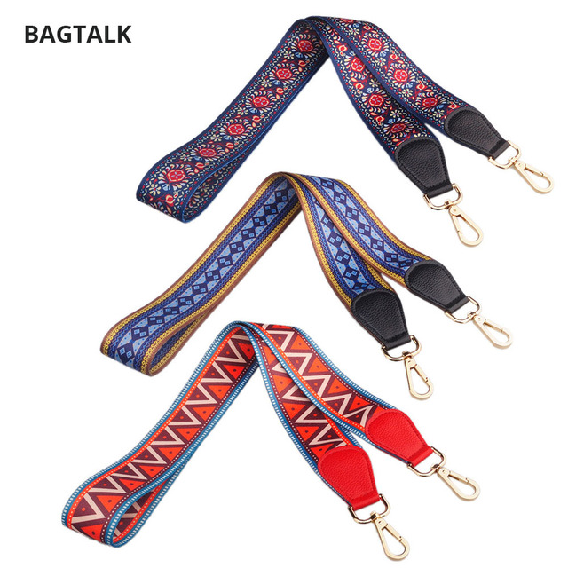 Thicker Colorful Fabric Long Shoulder Belt Straps For Bags Real Leather With Golden Hardware Accessories