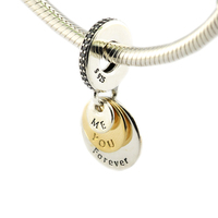 Fits Pandora Bracelets gold charms bead You & Me Forever Clear CZ 100% 925 Sterling Silver jewelry Charms DIY Jewelry wholesale