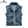 2016 New Men's Jean Denim Vest Light Color Waistcoat Men Slim Fit Sleeveless Jacket  Fashion New Brand Jeans Vests Z2311
