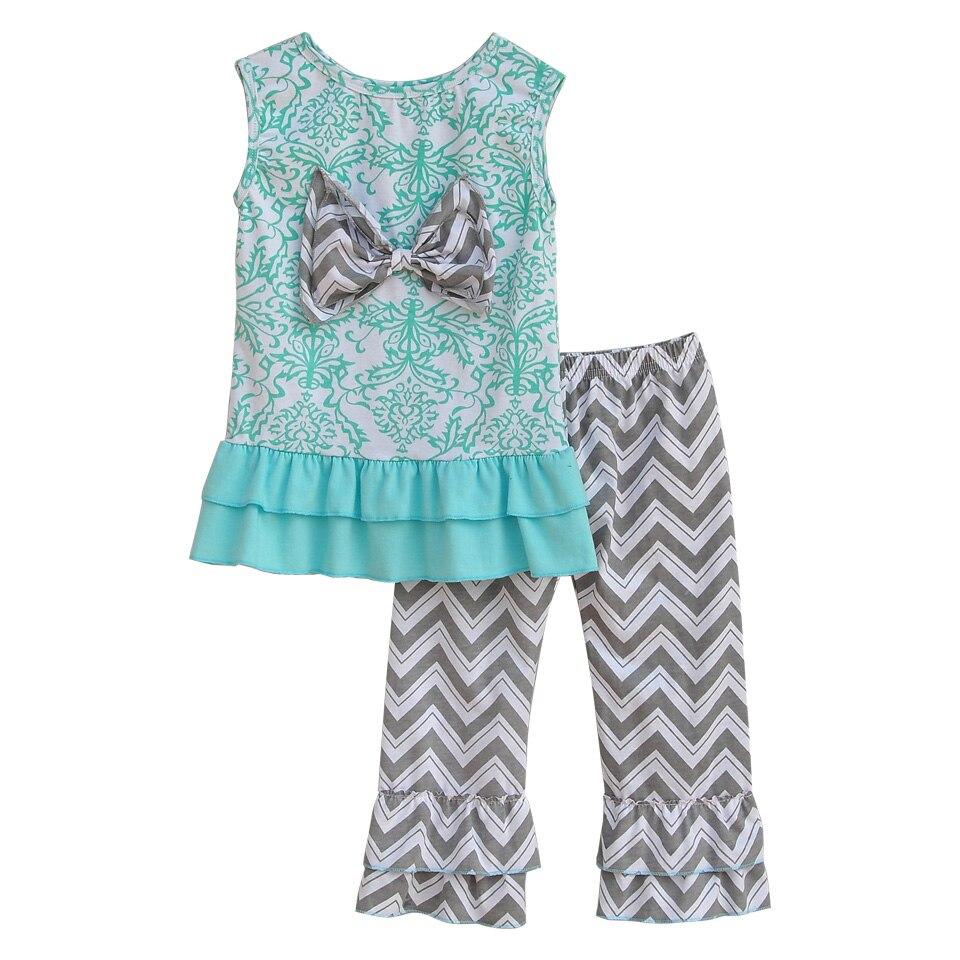 New Fashion Children <font><b>Sleeveless</b></font> Outfits <font><b>Printing</b></font> Ruffle <font><b>Top</b></font> With Big Bow <font><b>Chevron</b></font> Stripes Pants Baby Girls Summer Clothing S011