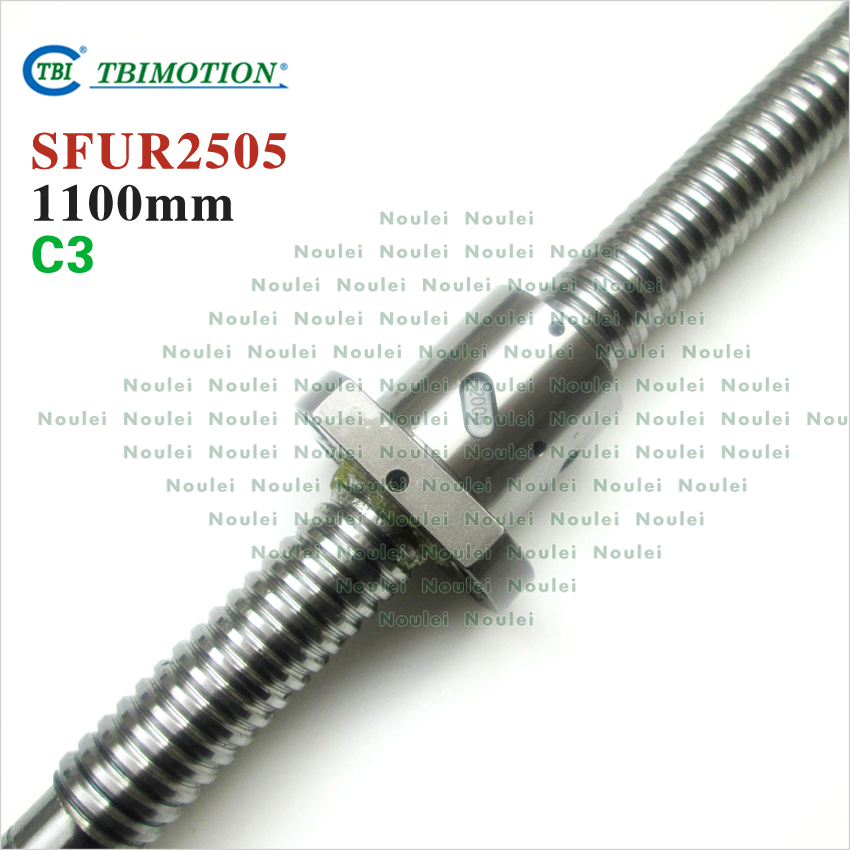 TBI 2505 C3 1100mm length ballscrew 5mm lead with SFU2505 ball nut end machined for cnc kit винт tbi sfkr 0802t3d