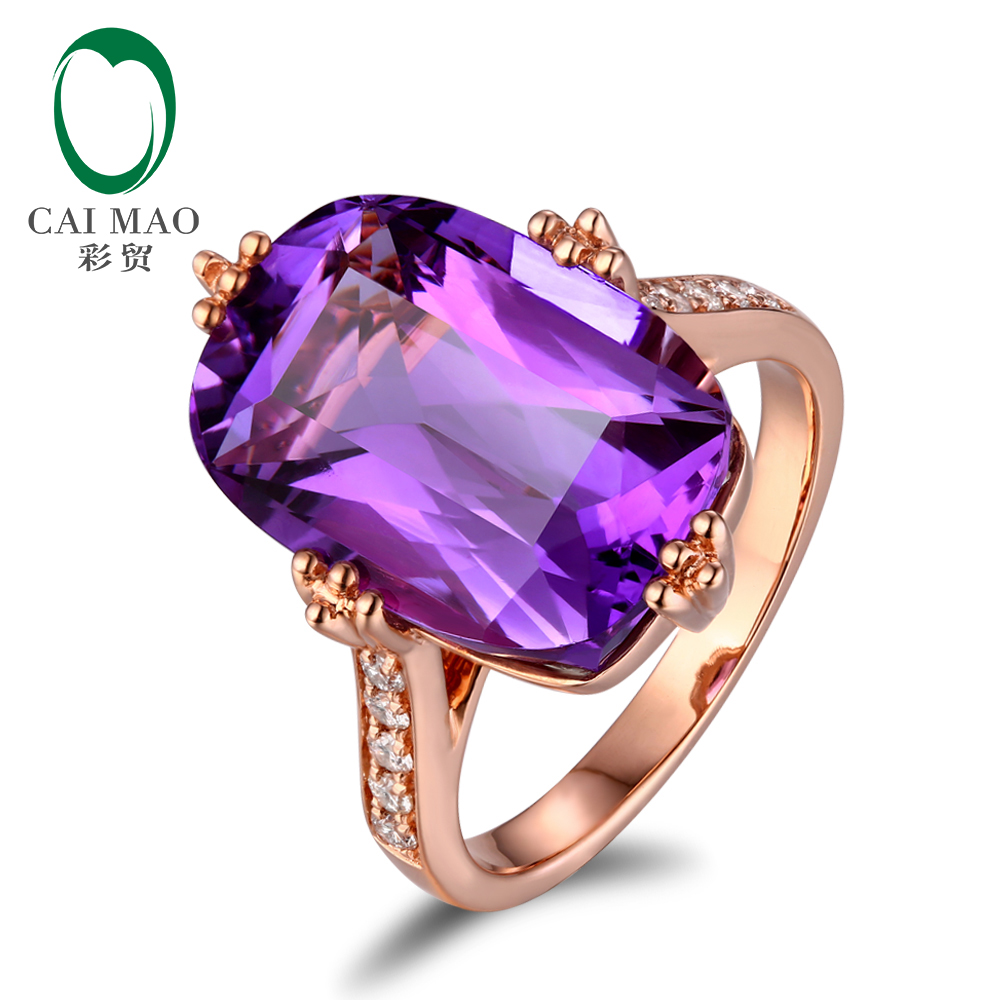 Free shipping 14KT/585 Rose Gold 9.85ct Natural Amethyst 0.2ct Round Cut Diamond Engagement Gemstone Ring Jewelry new free shipping 11 68ct 15mm round purple amethyst 14k gold natural diamond engagement ring