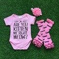 Девочки бутик одежда младенческой девушкой детская одежда розовый мода ползунки с соответствующими повязка на голову и legwarmer комплект