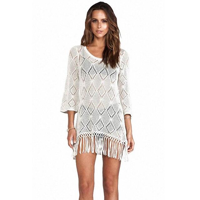 7ec5b8c4b1 Sexy de punto de ganchillo Fringe túnica Beachwear Cover up blusas ...