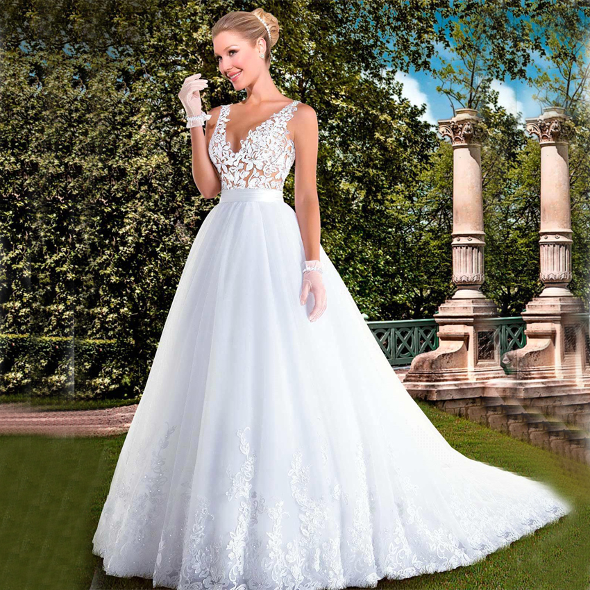 2017 Vintage Lace A Line Wedding Dress White V Neck Button Wedding ...