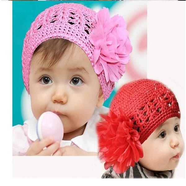 Knit Cute Toddlers Girls Baby Beanie Hat Handmade Flowers Crochet Knitting Cap 1-2Y