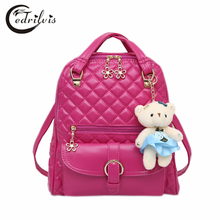 Bear Pendant Diamond Lattice Women Backpack W364 Pu Leather Solid Girl School Bag Zipper Shoulder Bag Bear Solid Lady Backpack