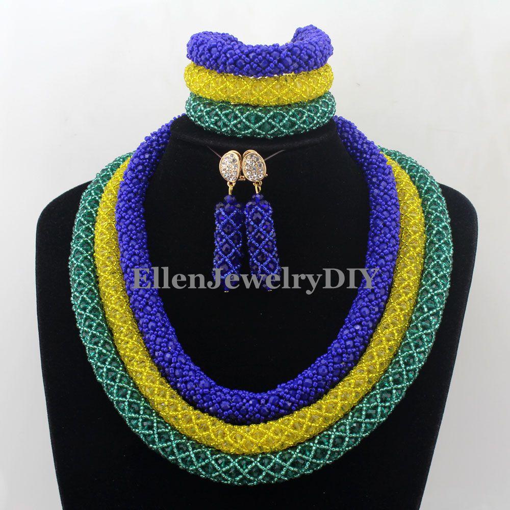 Déclaration Costume collier ensemble Africanbeads ensembles de bijoux femmes nigérian mariage perles ensemble de bijoux W12773