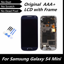 100% High Quality Blue/ Black LCD for Samsung Galaxy S4 mini I9190 i9192 i9195 LCD Display Touch Screen with Frame Assembly