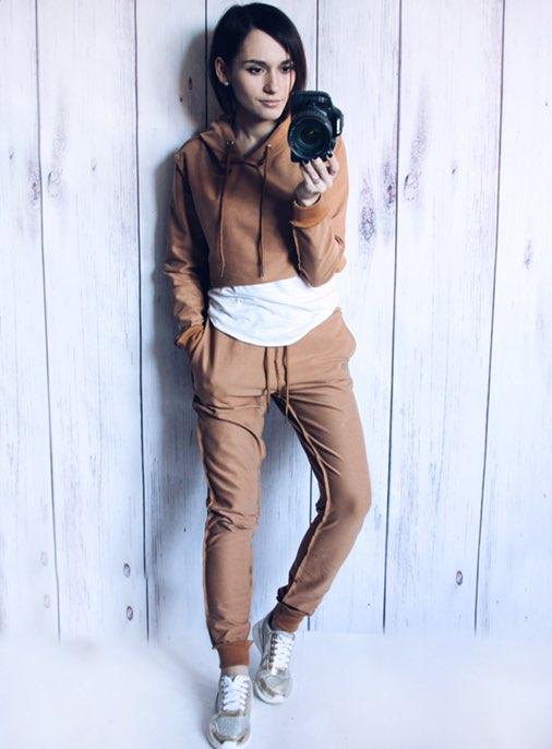gogaopt 2016 fashion autumn novelty design women hoodies tracksuits hooded crop top pants 2 pieces suit set