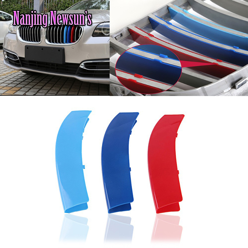 3 Colors ABS 3D Molding M Styling Front Grille Trims Strips Cover Motorsports Car Stickers For Bmw X1 X3 X4 X5 X6 1 3 5 Series 2pcs front grille grill cover trims frame for nissan teana altima 2016 2017 car styling