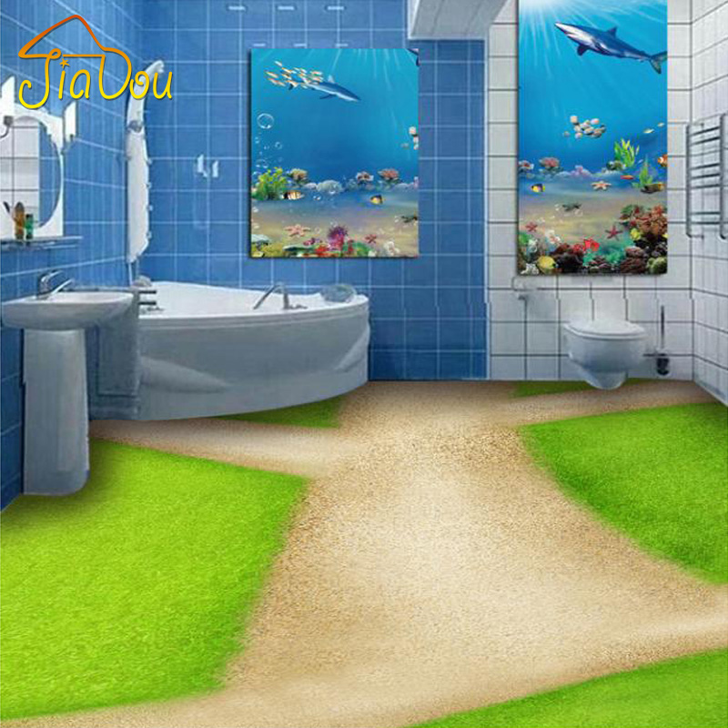Custom Mural Wallpaper Meadow Road Bedroom Living Room Bathroom 3D Floor Sticker PVC Self-adhesive Waterproof Floor Wallpaper  custom 3d floor painting wallpaper stone steps sunshine pvc self adhesive living room bedroom bathroom floor sticker wall mural