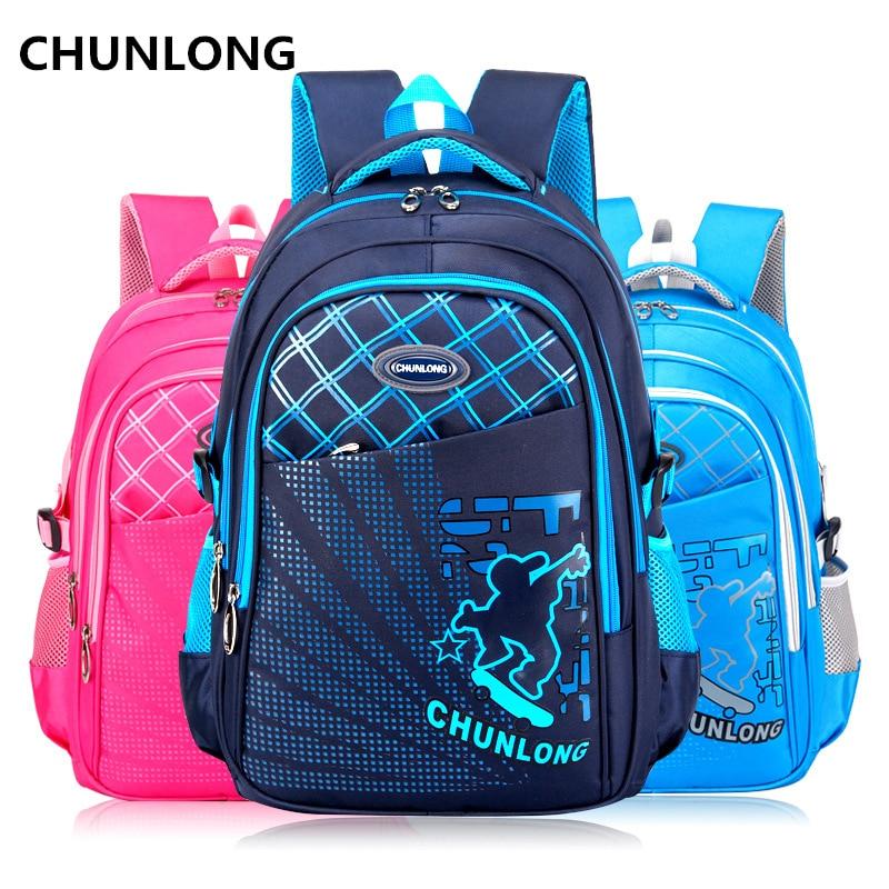 CHUNLONG high quality nylon school bags for boy. Lightweight breathable nylon backpacks Childrens orthopedic schoolbags mochila