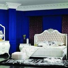 Роскошная кровать, Реплика мягкой кровати, Классический комплект мебели для спальни в итальянском стиле 0402-6015A