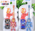 BBHL026 Cartoon iron man shape children toothbrush soft Material send a toy car Suitable for children over 3 years of ages