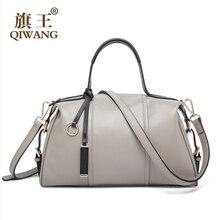 High-end Fashion Gray Leather Handbag Luxury Brand Genuine Leather Boston Bag  2016