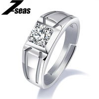 7SEAS 925 Sterling Silver Men Ring Simple Design Size Adjustable Cubic Zircon Wedding Finger Ring For