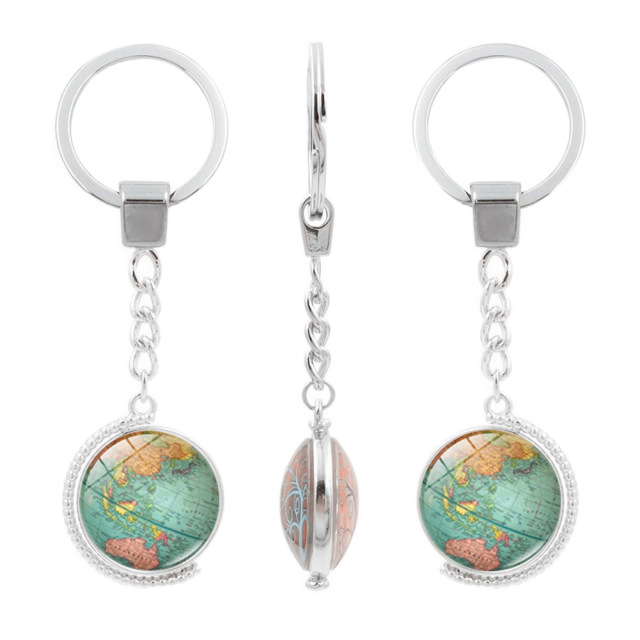 Vintage globe map keychain world map art glass round dome pendant vintage globe map keychain world map art glass round dome pendant key chain fashion jewelry silver gumiabroncs Image collections