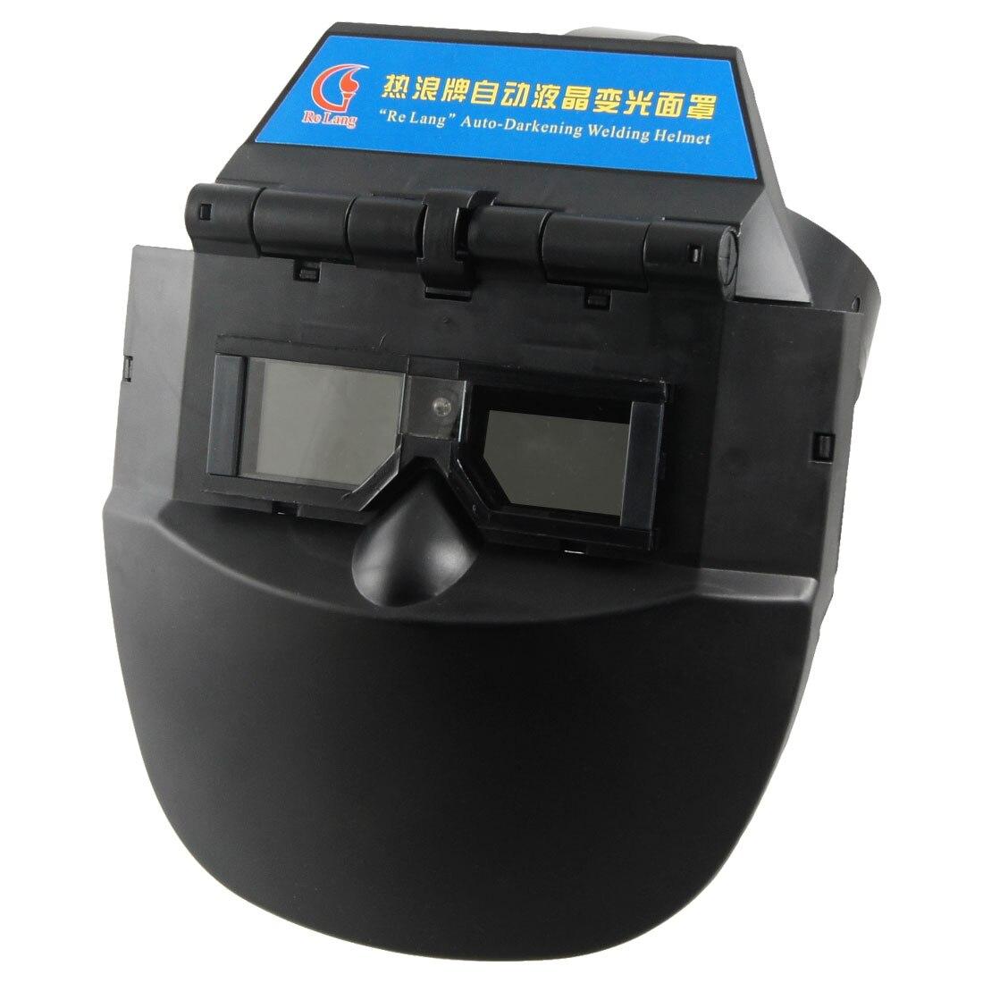 ФОТО UXCELL Black Plastic Auto Darkening Welding Helmet Mask Face Protector For