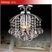 ZX Modern K9 Crystal Wire Drawing Hanging E14 LED Chandelier For Corridor Restaurant D28xH28cm