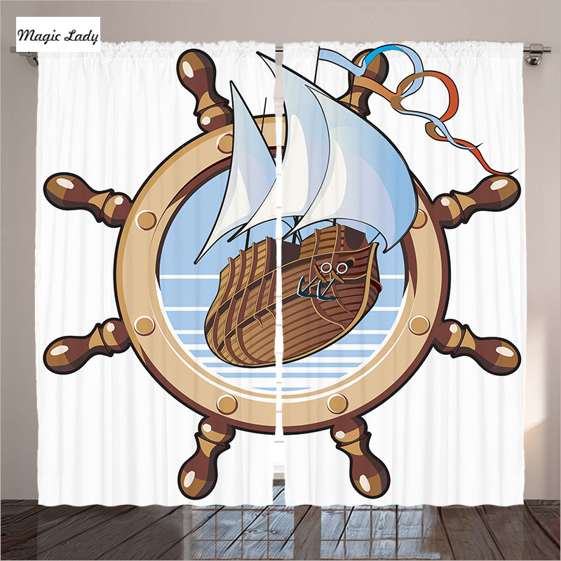 Navy Style Curtains Living Room Bedroom Ship Wheel Nautical Adventure Framing Art Decor Brown Blue 2 Panels Set 145*265 sm