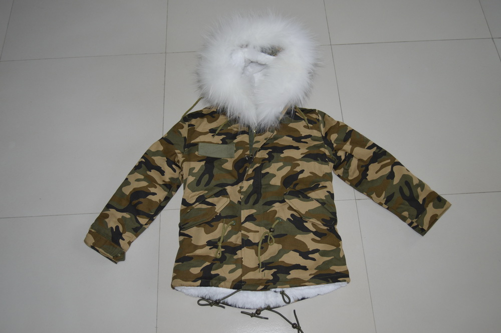 Small Camouflage With White Fake Fur Lined And Big Real Hooded Winter Fur Coats