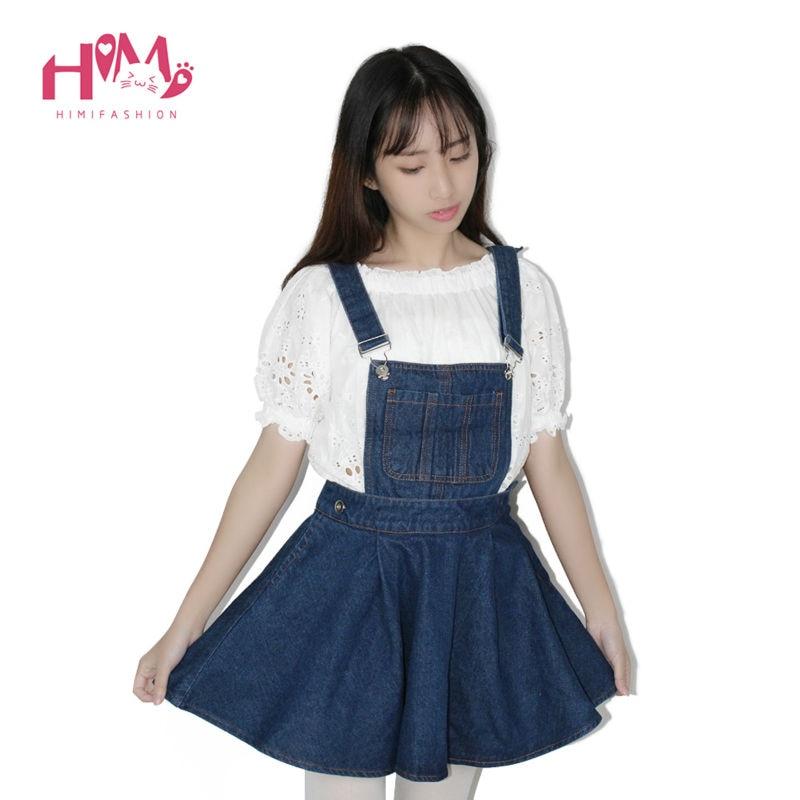 Vivi Japan Sstrap School Denim Dress For Ladies Dark Blue Removable Summer Detachable Student Overalls Dress Women Kawaii Cloth 7