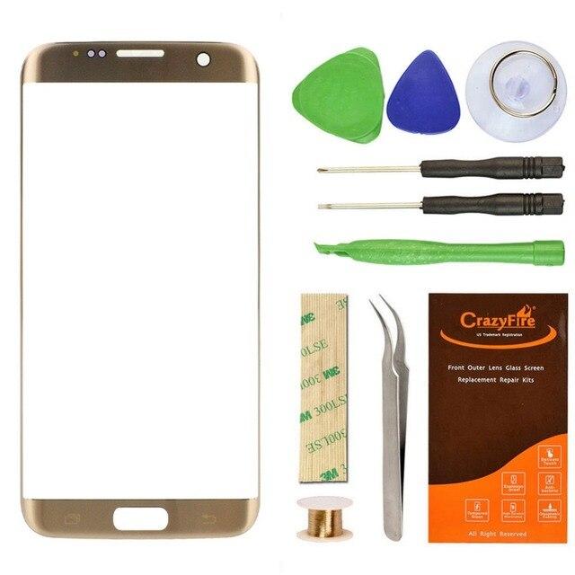 Высокое Качество Переднее Стекло Объектива Замена Для Samsung Galaxy S7 Edge G9350 Внешний Сенсорный Экран Ремонт Наборы Инструментов Наклейки FreeShip