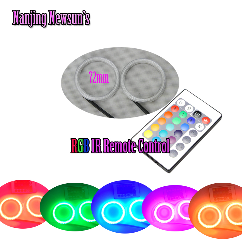 ФОТО 2PCs Auto Led Halo Ring Angel Eyes Kit RGBW IR Remote Control RGB Color Changeable 60mm 75mm 80mm 90mm 100mm 120mm 140mm DRL