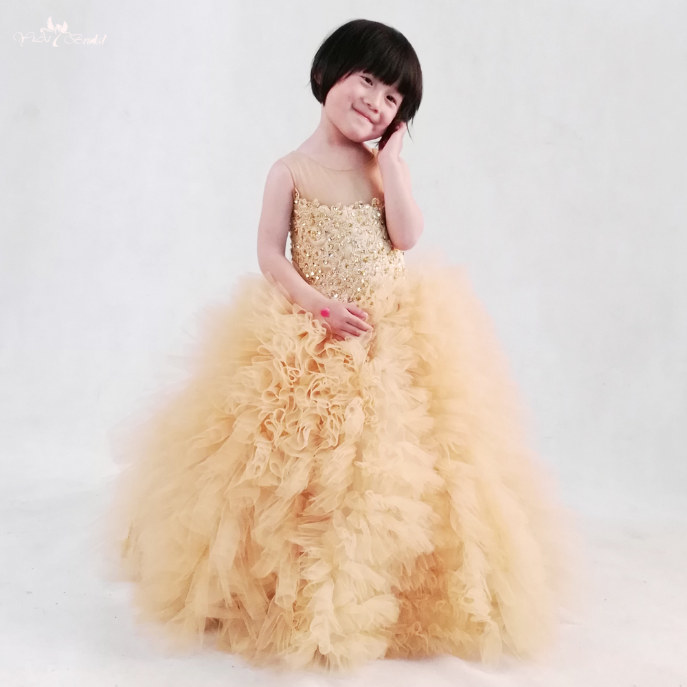 FG6 Lace Up Back gold Lace Ruffle Puffy Tulle Pageant Dresses For Little Girls Flower Girl Dresses  for weddings