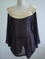 старинные мода Chef блузки большой размер крупногабаритные рубашки мас футболка футболка блузка стиль свободного покроя мини платья марка фиолетовый