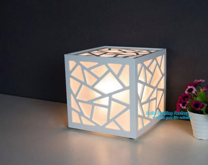 001 Square Creative Geometry Luminaria De Mesa Fashion Abajur Table Lights  Modern Wood Plastic Materials Table Desk Lamp 20CM In Table Lamps From  Lights ...