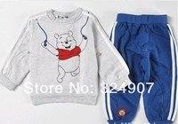 бесплатная доставка минимальный заказ 1 комплект спортивный костюм мультфильм медведь шаблон мальчиков костюм прекрасный одежда для детей