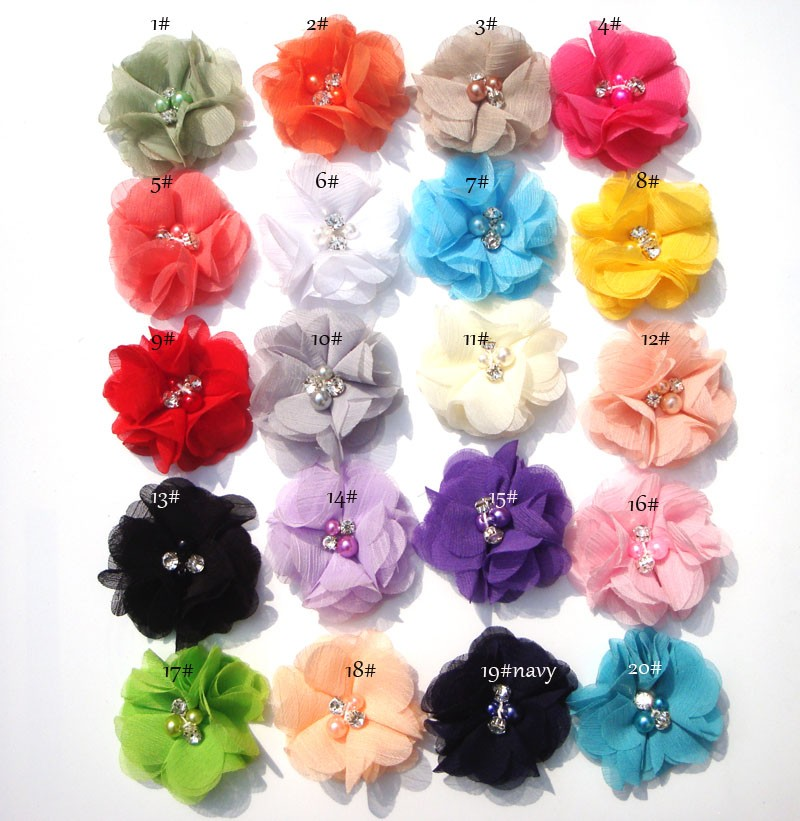 (50pcs/lot)2 20 Colors DIY Mini Chiffon Flowers Whit Pearl Rhinestone For Girls Accessories New Hot Baby Hair Flowers