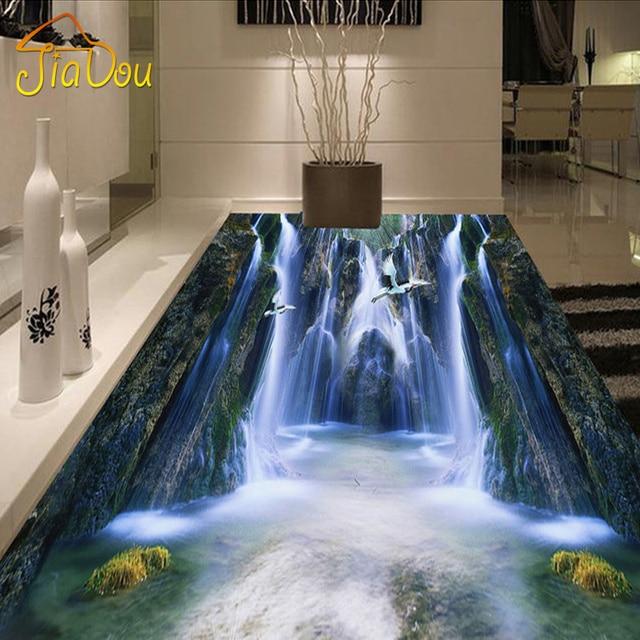 Custom Floor Mural Wallpaper 3D HD Valley Waterfall Bathroom Living Room  Floor Sticker Waterproof Self