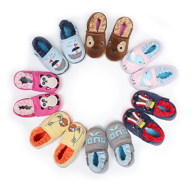 New Brand Kids Boys' Shoes, Fashion Warm Animal Letter Pattern Home Flat Shoes 2016 Baby Leisure Children's Shoes Autumn Winter