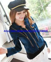 женщина осень-корейски мода улица одежда женщин мульти-молния джинсы куртки леди красивый винтаж джинсовая куртка