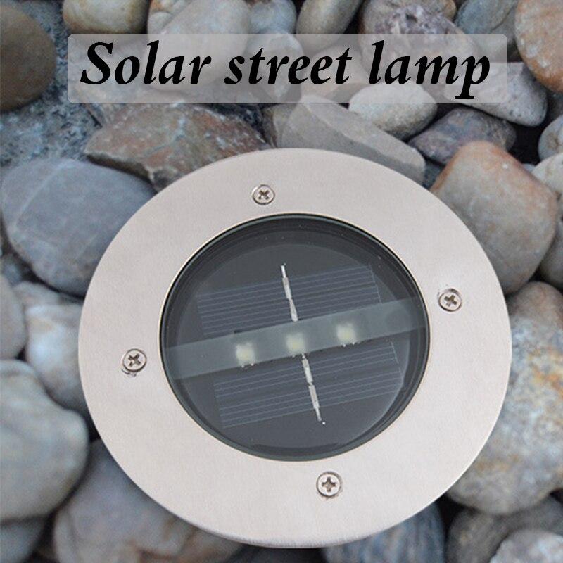 Solar stainless steel 4pc/lot Waterproof  LED Outdoor Ground Garden Path Floor Underground Buried Yard Lamp Spot Landscape Light
