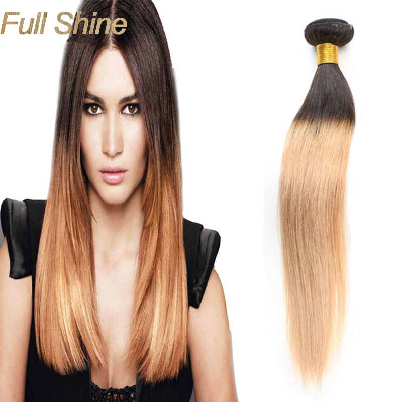 Full Shine 1b 27 Straight Ombre Brazilian Virgin Hair Two Tone Brazilian Human Hair Weave Hair
