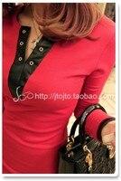 осень мода трикотажные хлопок пр рубашка искусственной кожи лоскутная с V-образным вырезом средней длины - сплошной цвет основные футболка женская