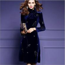Women Winter Plus Size Velvet Dress Party Evening wear