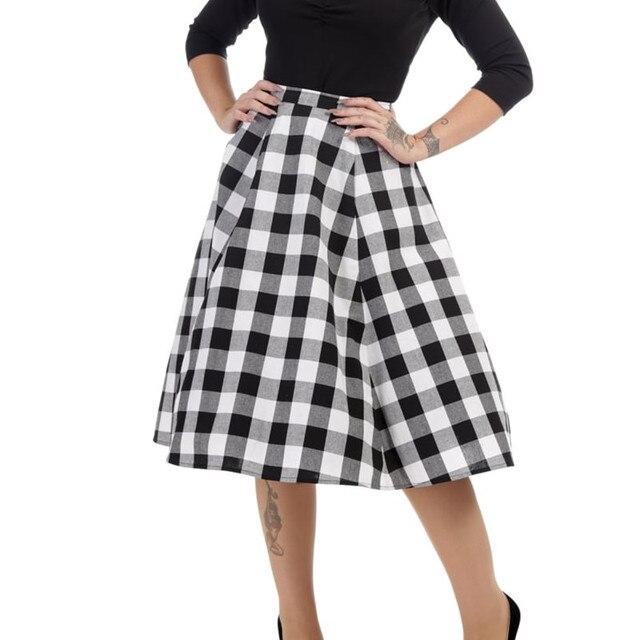 8e92cae056aaac 45- women vintage 50s white black gingham checkered high waist a line skirt  rockabilly pinup saia plus size 4xl jupe skirts